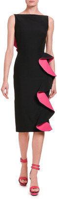 Alexander McQueen Contrast-Face Ruffled Cutout Midi Dress