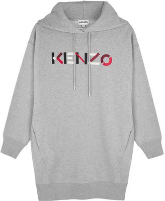 Kenzo Grey logo cotton sweatshirt dress