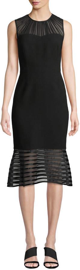 Elie Tahari Paris Sleeveless Flared Hem Chiffon Dress