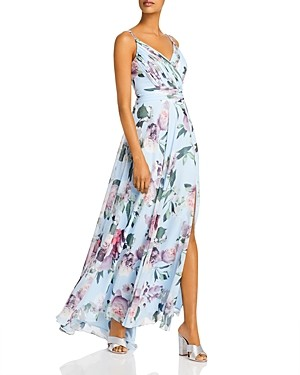 Aqua Pleated Floral Print Gown - 100% Exclusive