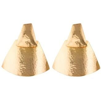 Hammered Gold Teardrop Clip Earrings