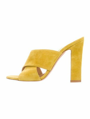 Gianvito Rossi Crossover Suede Sandals Lime