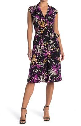 London Times Jersey Floral Wrap Dress