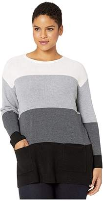 Vince Camuto Specialty Size Plus Size Two-Pocket Waffle Stitch Color Block Sweater