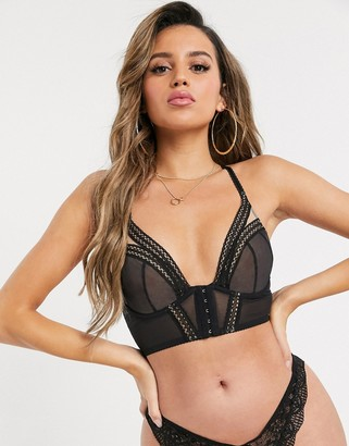 Gossard Sheer Seduction mesh longline bra In black