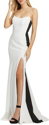 Mac Duggal Colorblock Strapless Trumpet Gown