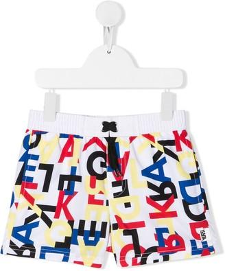 Karl Lagerfeld Paris Logo Printed Swim Shorts