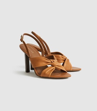 Reiss Phoebe - Leather Twist Front Slingbacks in Tan