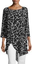 Neiman Marcus Printed Asymmetric Tunic, Black