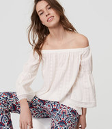 LOFT Petite Daisy Embroidered Off The Shoulder Top