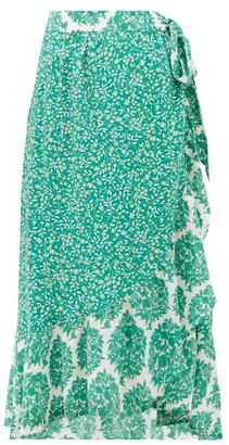 Beulah Elena Tree Of Life-print Silk Midi Wrap Skirt - Green White