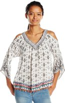 Angie Junior's Placement Print Cold Shoulder Top