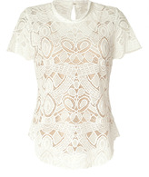 L'Agence LAgence White Lace Top with Nude Silk Cami