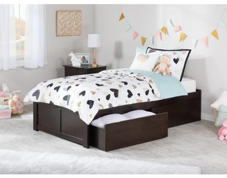 Atlantic Furniture Concord Platform Bed with Flat Panel Foot Board and 2 Urban Bed Drawers, Multiple Colors, Multiple Sizes