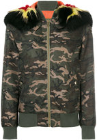 Mr & Mrs Italy - camouflage print coat - women - Cotton/Fox Fur/Polyamide/Racoon Fur - S