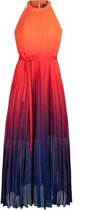 Rachel Roy Dip Dyed Pleated Chiffon Maxi Dress