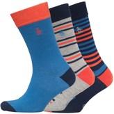 Original Penguin Mens Three Pack Socks Hot Coral/Dress Blue/Grey
