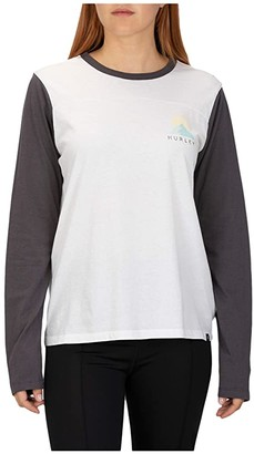Hurley Breckens Blocked Long Sleeve T-Shirt (Thunder Grey) Women's Clothing