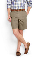 "Lands' End Men's No Iron 9"" Plain Front Comfort Waist Chino Shorts-Light Stone"