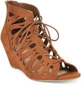 Material Girl Harlie Lace-Up Demi Wedge Sandals, Only at Macy's
