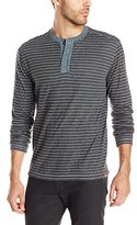 Agave Men's Green Long Sleeve Striped Henley