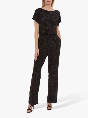 Gina Bacconi Dorota Floral Jumpsuit, Black/Silver