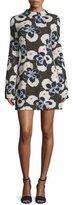 Suno Floral Mock-Neck Mini Dress, Brown