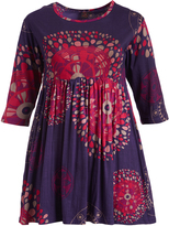 Aller Simplement Purple & Pink Geometric A-Line Dress - Plus Too