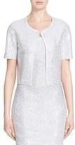 St. John 'Ziani' Crystal & Sequin Embellished Crop Knit Jacket