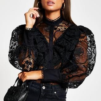River Island Womens Black long sleeve lace frill shirt