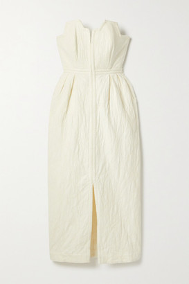 Mara Hoffman Net Sustain Aurelia Strapless Organic Cotton And Linen-blend Jacquard Midi Dress - Off-white