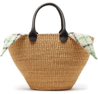 Muun Marlene Woven Straw And Wool Basket Bag - Womens - Green Multi