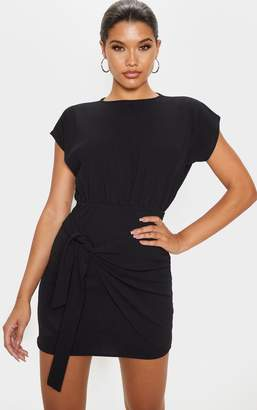 PrettyLittleThing Black Tie Waist Wrap Detail Bodycon Dress