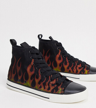 ASOS DESIGN Wide Fit plimsolls in black with flame print