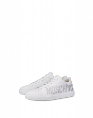 Moschino Calfskin Sneakers With Logo Woman White Size 35 It - (5 Us)