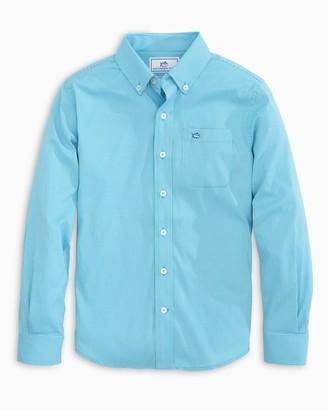 Southern Tide Boys Micro Tattersall Intercoastal Button Down Shirt