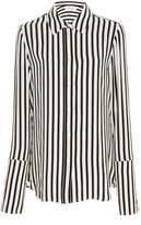 Frame Striped Crepe de Chine Pajama Shirt