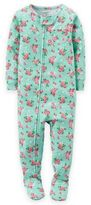 Carter's Zip-Front Floral Footed Pajama in Aqua