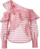 Self-Portrait lace frill blouse - women - Cotton/Polyester - 6