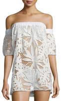 Milly Off-the-Shoulder Flutter-Sleeve Shift Coverup Dress