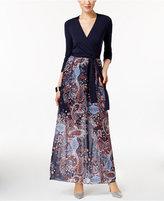 ECI Faux-Wrap Illusion Maxi Dress