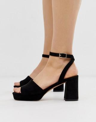Asos Design DESIGN Hockey platform heeled sandals in black