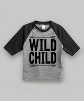 Urban Smalls Heather Gray & Charcoal 'Wild Child' Raglan Tee - Toddler & Kids