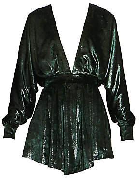 Balmain Women's Long-Sleeved V-Neck Velvet Dress