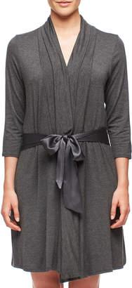 Fleurt Fleur't Take Me Away Short Jersey Robe w/ Silk Ties, Charcoal Mix