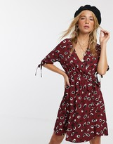 Influence wrap front mini dress in splodge print
