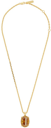 SWEETLIMEJUICE Gold Denim Oval Necklace