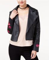 The Edit By Seventeen Juniors' Rose-Embroidered Faux-Leather Jacket