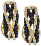 Effy Final Call Black and White Diamond Hoop Earrings (1 ct. t.w.) in 14k Gold