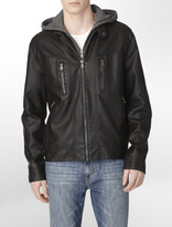 Calvin Klein Hooded Faux Leather Zip-Front Jacket